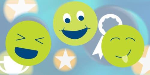 Green emoji faces on a blue award background