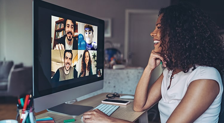 Remote worker video conference Recognition Man
