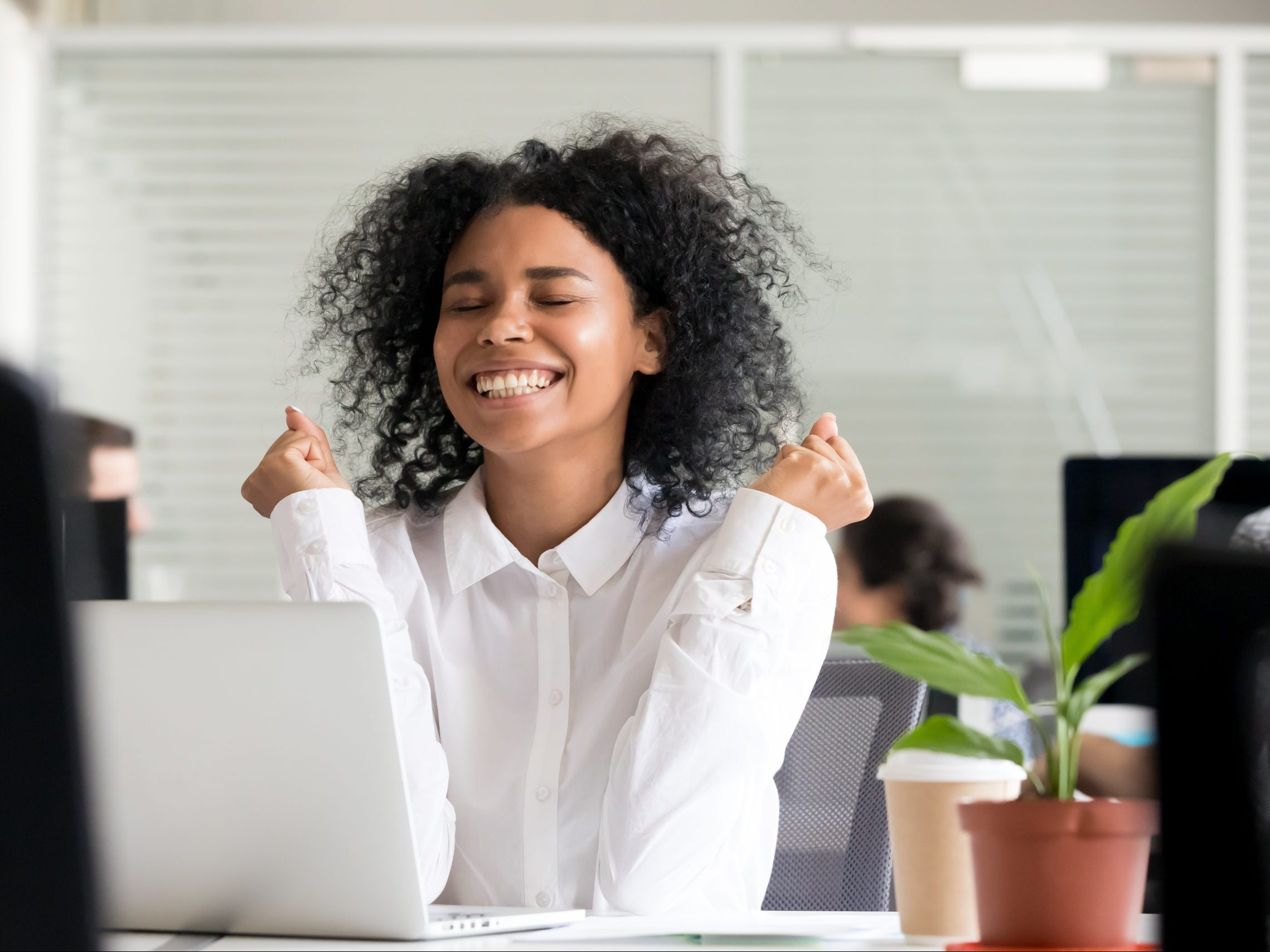 Excited,African,Office,Worker,Student,Receiving,Good,News,In,Email