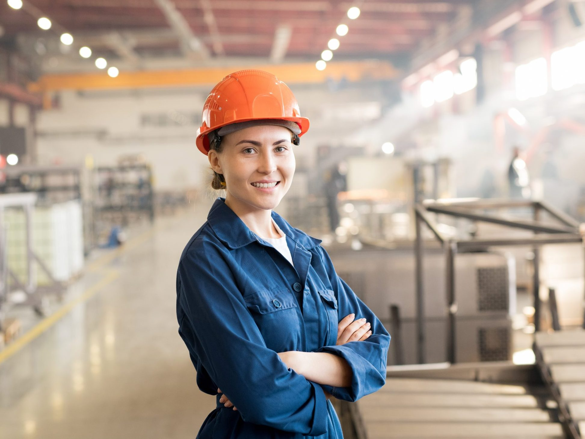Happy,Younh,Successful,Female,Worker,Of,Factory,In,Workwear,And
