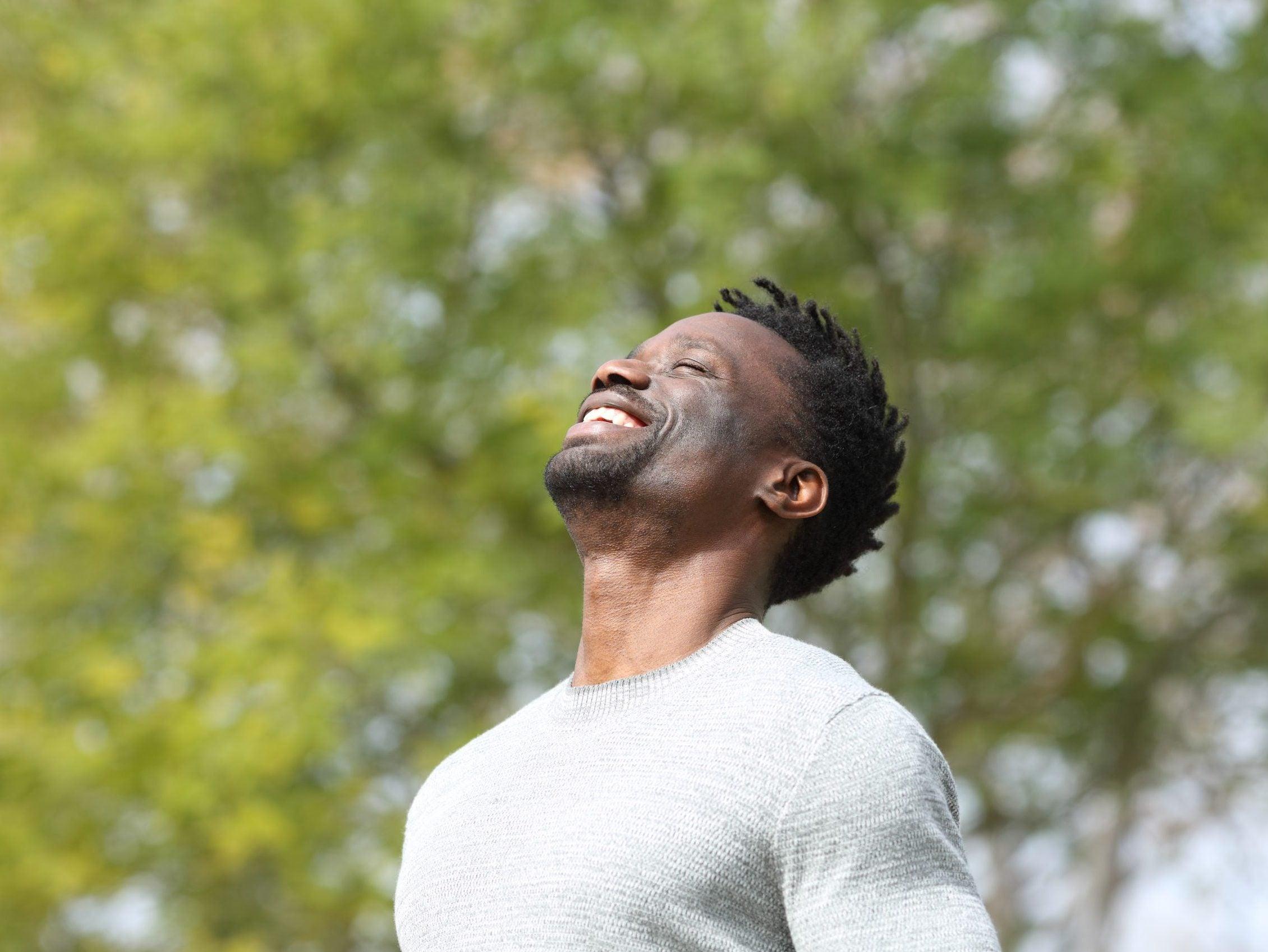 Happy,Black,Man,Breathing,Deeply,Fresh,Air,In,A,Park