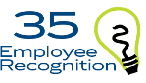 text that reats 35 Employee Recognition Ideas with a lightbulb icon to the right
