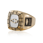 Gold ring featuring the Chevy bowtie logo in the center