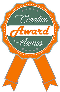 Orange and green ribbon with text that reads Creative Award Names