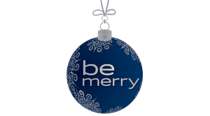 Blue christmas ornament with white snowflakes and text that reads be merry