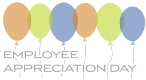 Orange, green and blue balloon graphics that are above text that says Employee Appreciation Day