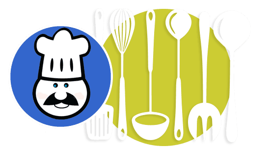 Graphic of a man with a mustache and chef hat next to cookign utensils