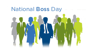 Text that read National Boss Day with green, gray and blue silhouettes of people