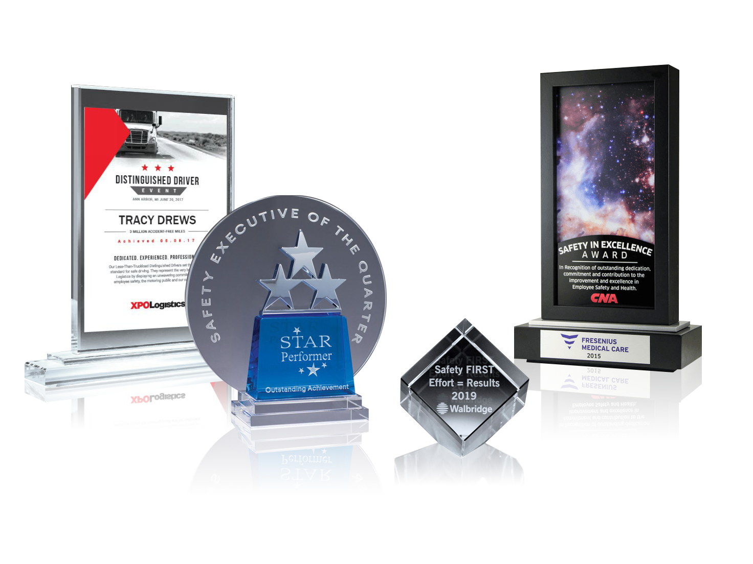 A group of crystal safety award options