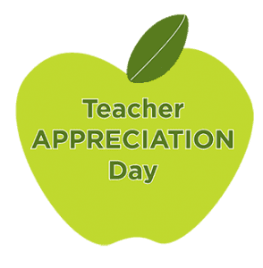 Green apple graphic with dark green text in the center that says Teacher Appreciation Day