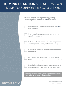Preview of 10 minute actions leaders can take to support recognition checklist resource