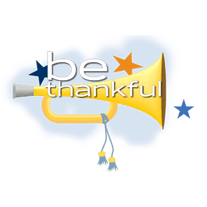 Gold horn graphic with blue and orange stars behind white text that says be thankful