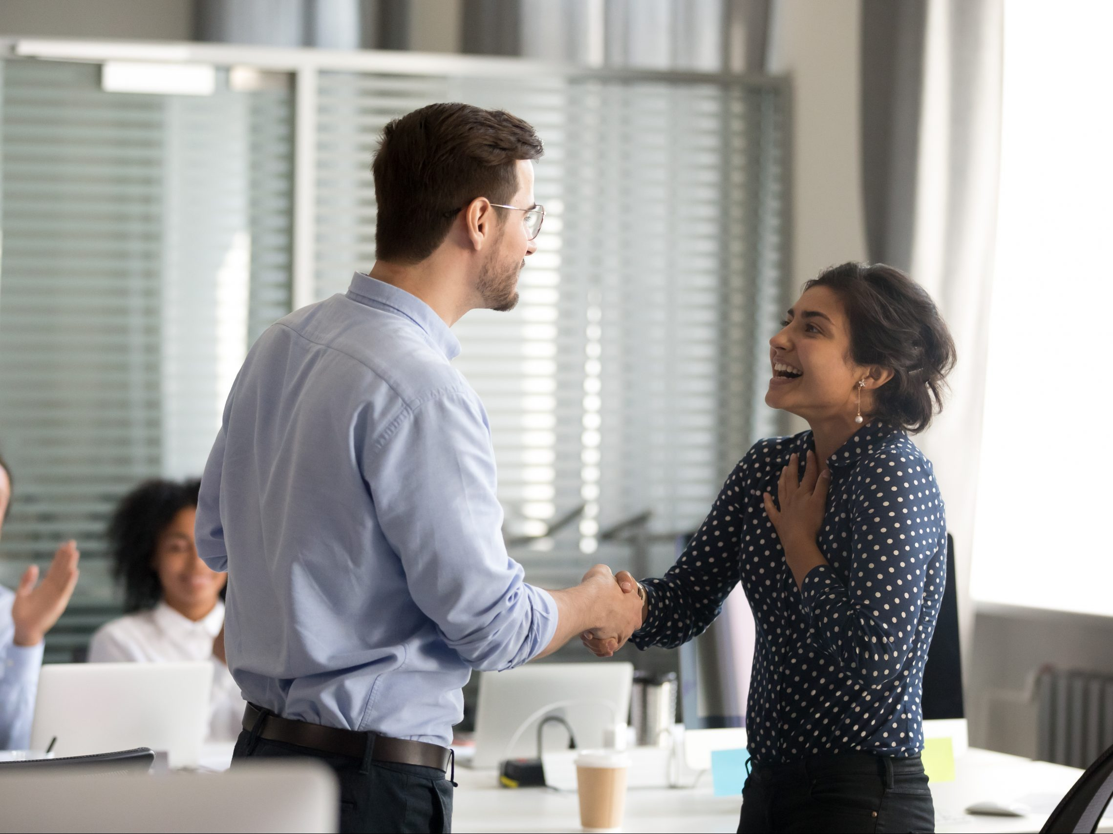 Team,Leader,Motivating,Handshaking,Female,Indian,Excited,Employee,,Congratulate,With